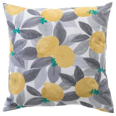 Stone Gray Lemons Square Outdoor Throw Pillow (2-Pack)