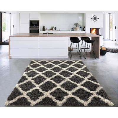 Cozy Shag Collection Charcoal Gray and Cream Moroccan Trellis Design 5 ft. x 7 ft. Indoor Area Rug