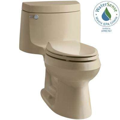 Cimarron 1-Piece 1.28 GPF Single Flush Elongated Toilet with AquaPiston Flush Technology in Mexican Sand, Seat Included
