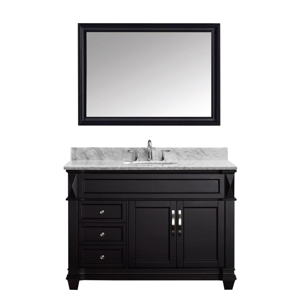 Virtu USA Victoria 49 in. W Bath Vanity in Espresso with Marble Vanity Top in White with Round Basin and Mirror