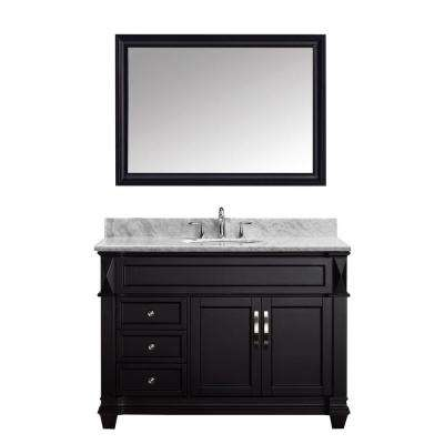 Victoria 49 in. W Bath Vanity in Espresso with Marble Vanity Top in White with Round Basin and Mirror