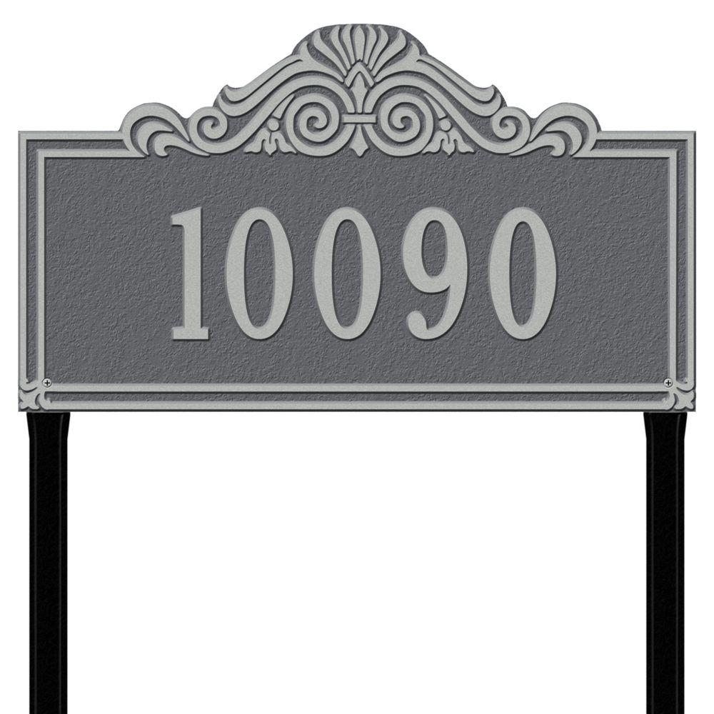 Whitehall Products Villa Nova Rectangular Pewter/Silver Estate Lawn One Line Address Plaque