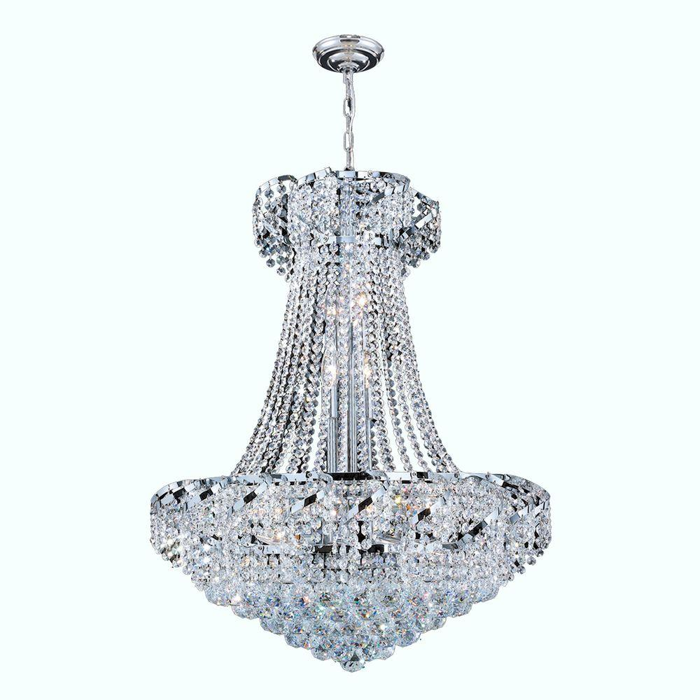 Worldwide Lighting Empire Collection 15-Light Crystal and Chrome Ceiling Light