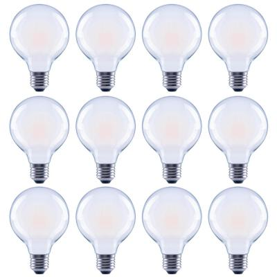 60-Watt Equivalent G25 Globe Dimmable Frosted Glass Filament Vintage LED Light Bulb Soft White (12-Pack)