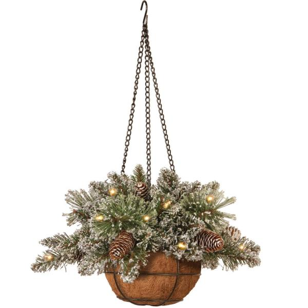 16 in. Glittery Bristle Pine Hanging Basket with LED Lights