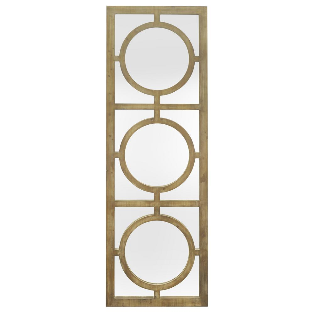 three hands wood decorative wall mirror with circle overlay detail