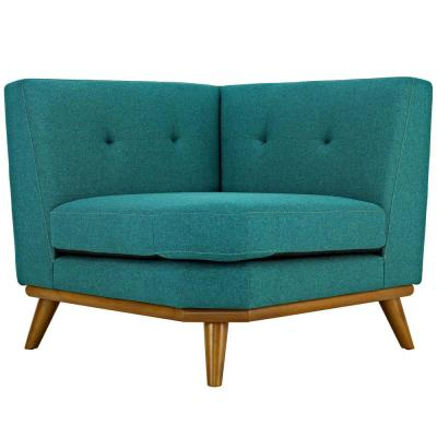 Engage Teal Polyester Sectional Corner Chair with Tapered Wood Legs