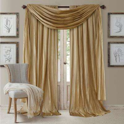 Semi-Opaque Gold Rod Pocket 2-Window Curtain Panel - 52 in. W x 84 in. L and 1-Scarf Valance - 52 in. W x 216 in. L