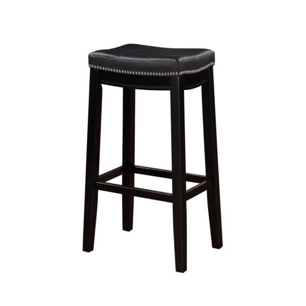 Linon Home Decor Claridge 32 in. Black Cushioned Bar Stool 55816BLK01U