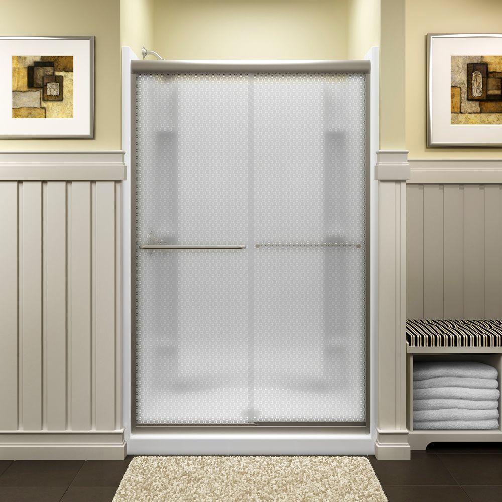 STERLING Finesse 47-5/8 in. x 70-1/16 in. Semi-Frameless Sliding Shower Door in Cirkette Silver with Handle