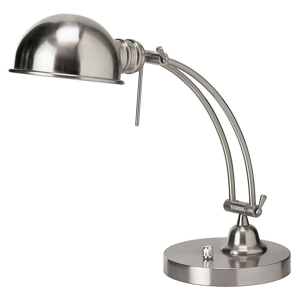Catherine 18 in. 1-Light Satin Chrome Table Lamp