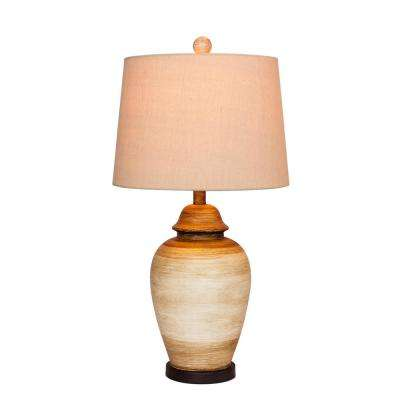 27.5 in. 2-Tone Weathered Resin Ginger Jar Table Lamp in Beige and White