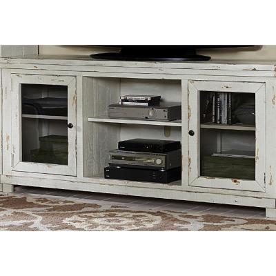 Willow 68 in. Distressed White Wood TV Stand Fits TVs Up to 70 in. with Storage Doors