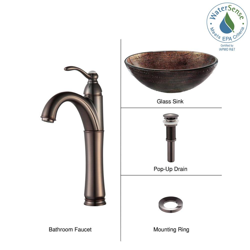 KRAUS Illusion Glass Vessel Sink in Brown with Riviera Faucet in Oil Rubbed Bronze
