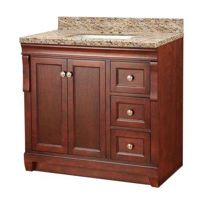 Naples 37 in. W x 22 in. D Vanity in Tobacco with Granite Vanity Top in Giallo Ornamental with White Sink