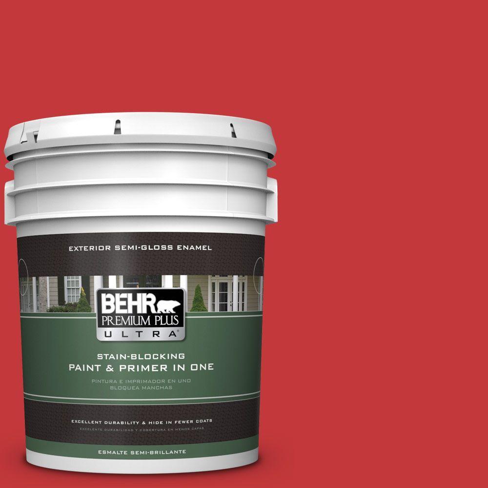 BEHR Premium Plus Ultra 5-gal. #150B-7 Poinsettia (Red) Semi-Gloss Enamel Exterior Paint