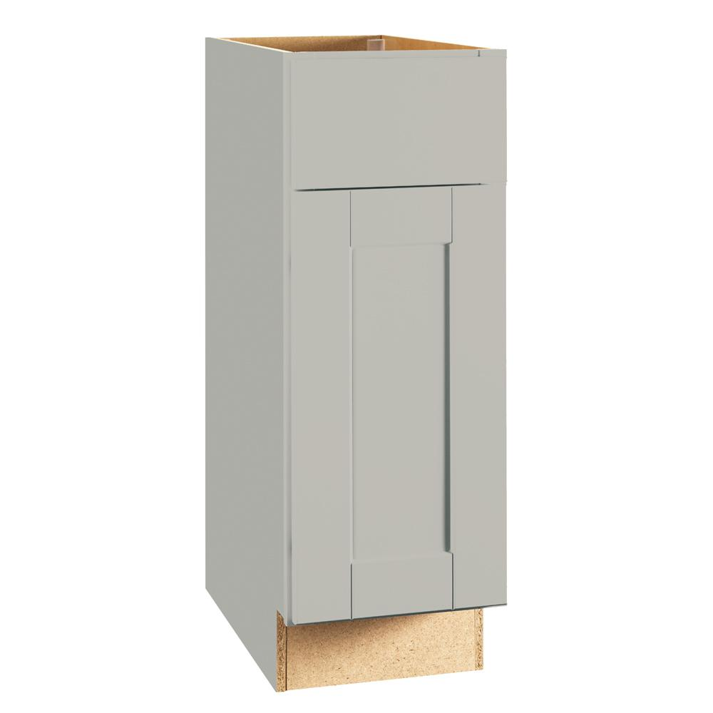 Hampton Bay Shaker Assembled 12x34.5x24 in. Base Kitchen Cabinet with Ball-Bearing Drawer Glides in Dove Gray