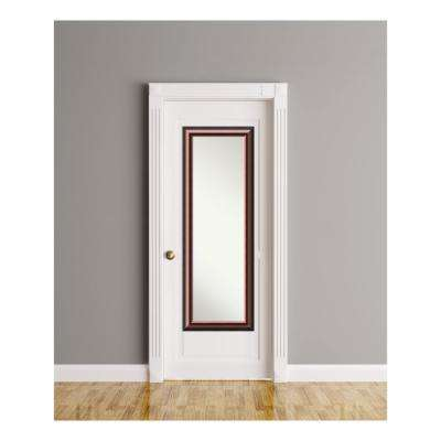 Cambridge Mahogany Wood 18 in. W x 52 in. H On The Door Mirror