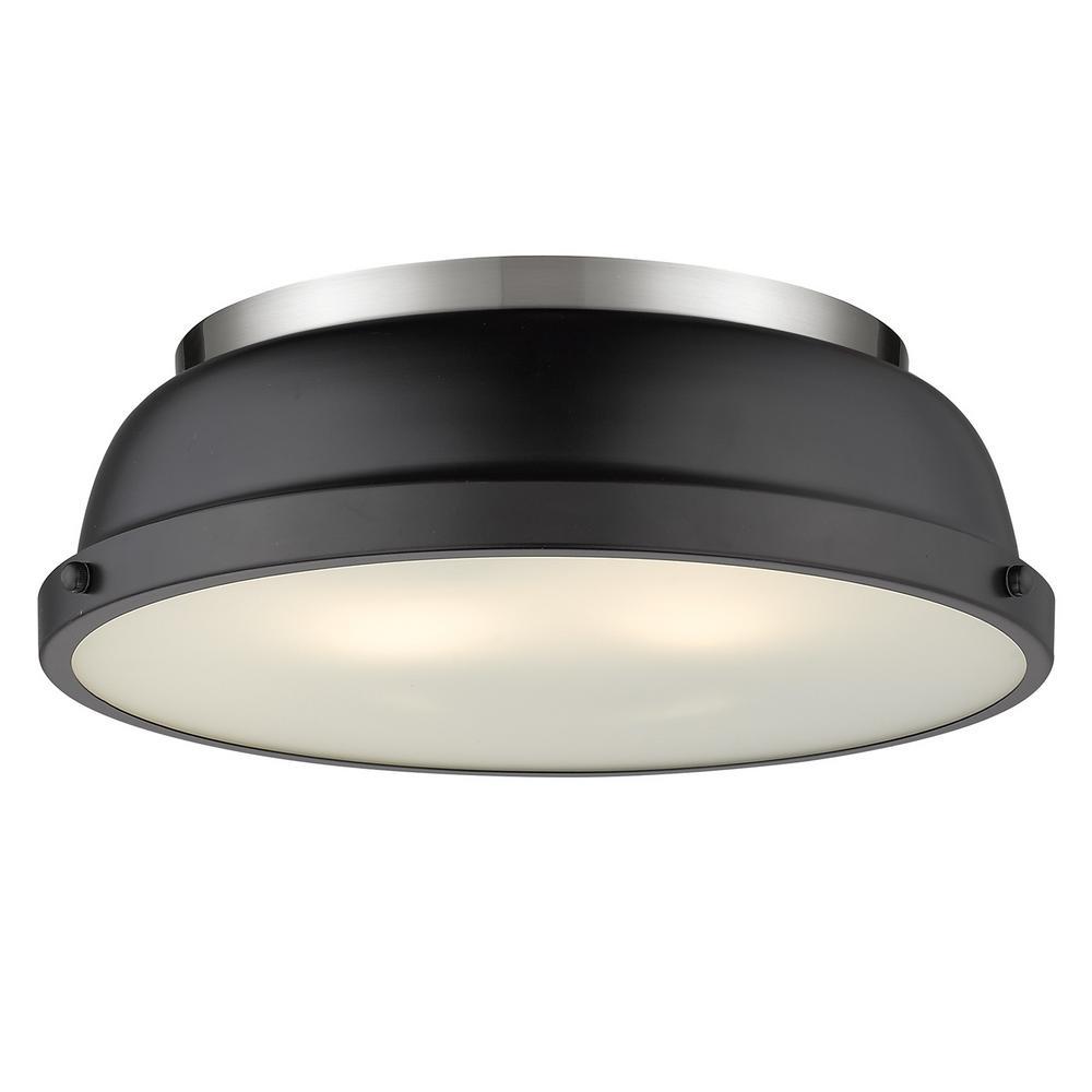 Duncan 2-Light Pewter Flush Mount with Matte Black Shade