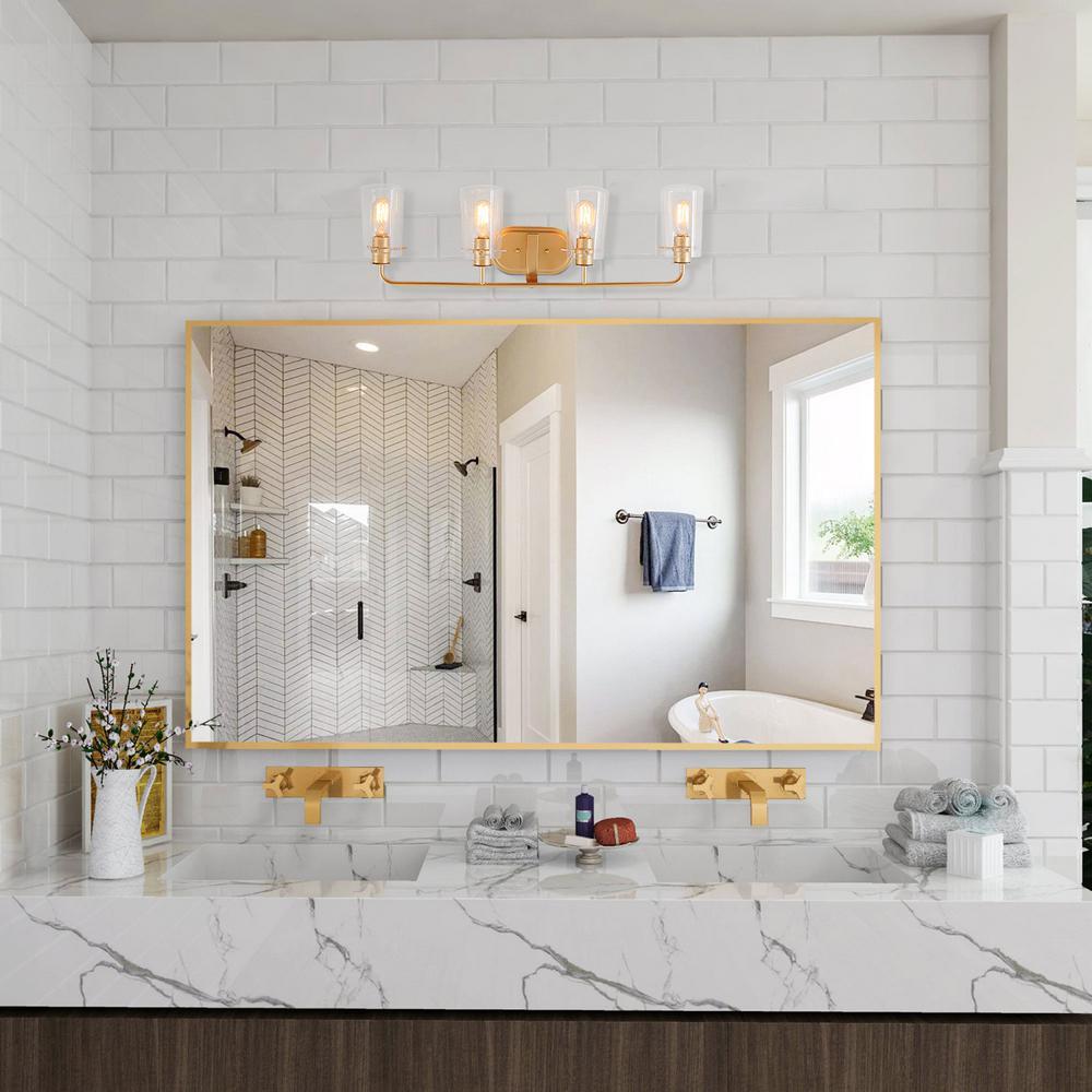 Laluz Modern Bathroom Vanity Light 4 Light Warm Brass Gold Bath Light Interior Bath Bar Light With Bell Seeded Glass Shades Llbuqvhl13567nq The Home Depot