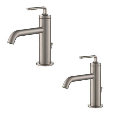 Ramus Single Hole Single-Handle Bathroom Faucet with Matching Lift Rod Drain in Spot Free Stainless Steel (2-Pack)