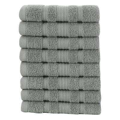 Pure Turkish Cotton Collection 13 in. W x 13 in. H Luxury Washcloth in Grey (Set of 8)