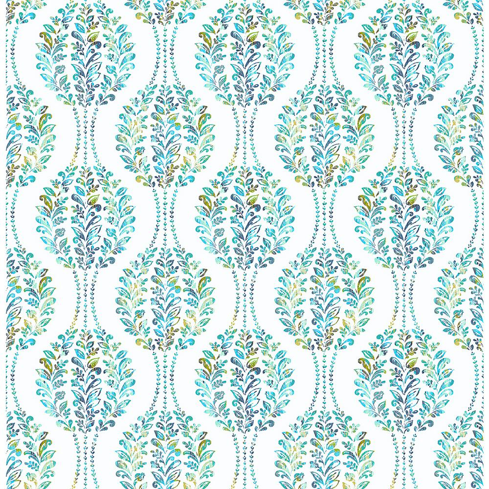 A Street Versailles Teal Floral Damask Wallpaper 2702 22738 The