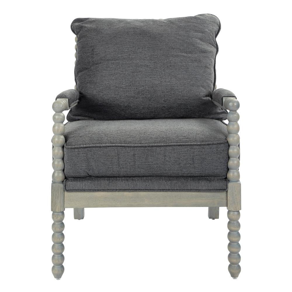 OSP Home Furnishings Abbot Charcoal Fabric Chair with Brushed Grey Base, Charcoal Polyester The Abbot Chair transforms the living room with a chic farmhouse design. The chair is characterized by its turned spindle detailing, padded armrests, and distressed wire brush finish. Blending a hardwood frame with a reversible plush seat, the Abbot is perfect for those cozy moments at home. Color: Charcoal Polyester.