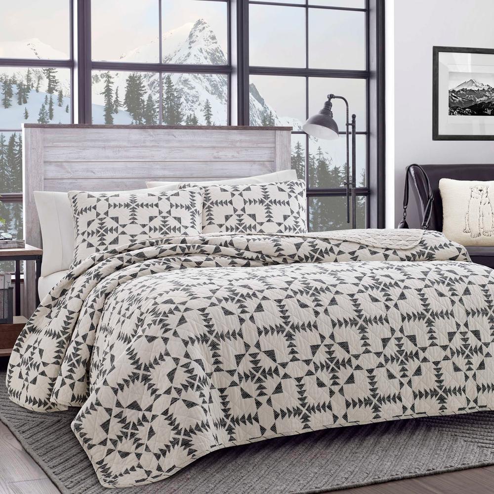 Arrowhead 2-Piece Charcoal Cotton Twin Quilt Set