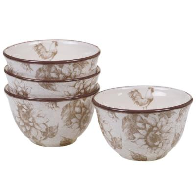 Toile Rooster Multi-color Ice Cream Bowl (Set of 4)