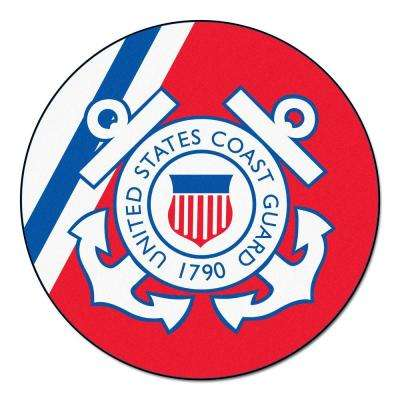 MIL U.S. Coast Guard Red 4 ft. x 4 ft. Round Indoor Area Rug