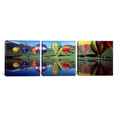 """Reflection Of Hot Air Balloons On Water, Colorado, USA"" by Panoramic Images Canvas Wall Art"