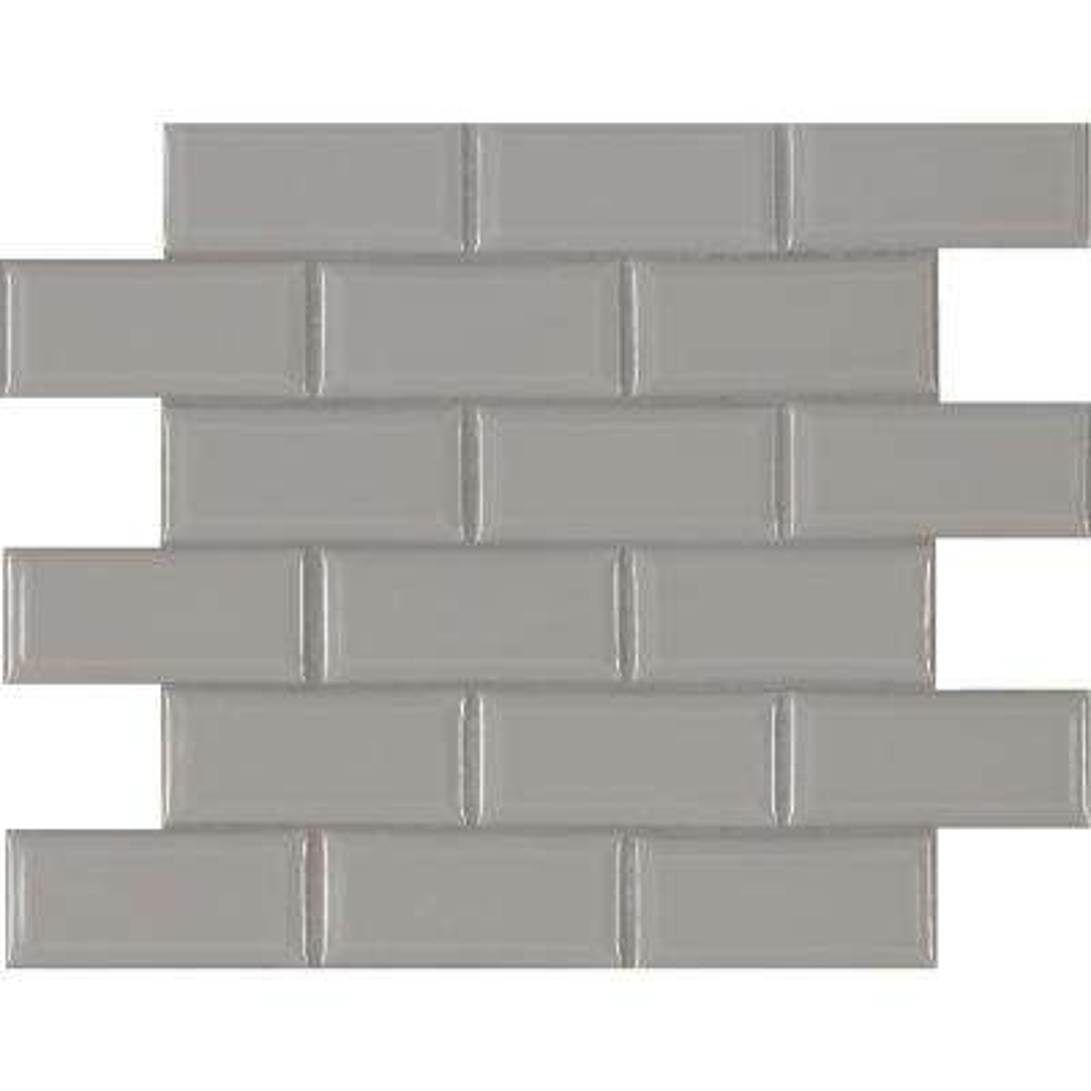 Gray Bevel 11.47 in. x 11.63 in. x 6 mm Glazed Ceramic Mesh-Mounted Mosaic Tile (13.35 sq. ft. / case)
