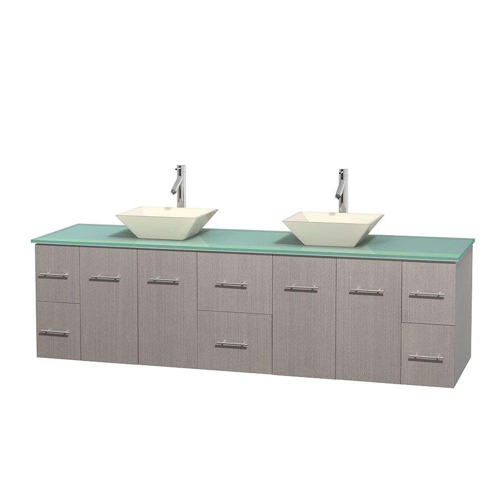 Centra 80 in. Double Vanity in Gray Oak with Glass Vanity