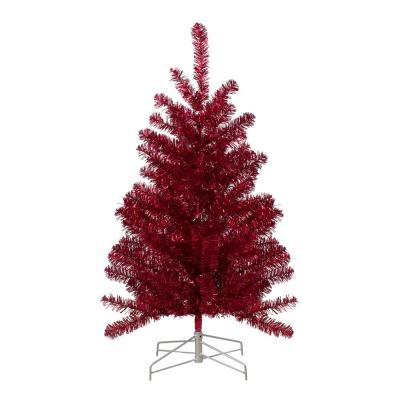 3 ft. Unlit Metallic Tinsel Artificial Christmas Tree, Red