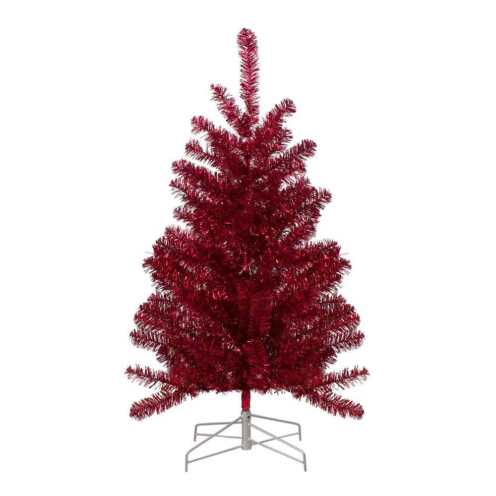 3 ft. Unlit Metallic Tinsel Artificial Christmas Tree, Red