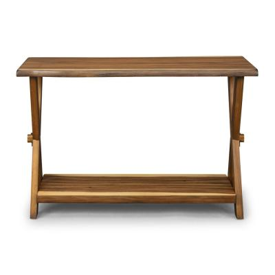 Forest Retreat 48 in. Brown Standard Rectangle Wood Console Table with Storage