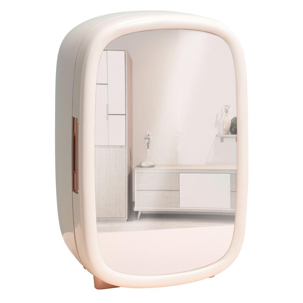 Beauty 0.42 cu. ft. Retro Mini Fridge in White Mirror without Freezer