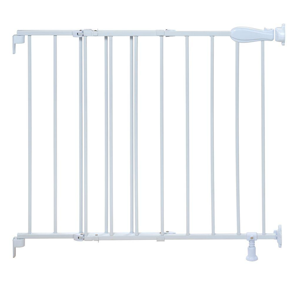 Top Of Stairs White Simple To Secure Metal Gate