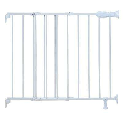30 in. Top of Stairs White Simple to Secure Metal Gate