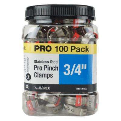 3/4 in. Stainless Steel PEX Barb Pro Pinch Clamp Jar (100-Pack)