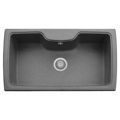 Harmony Drop-in Granite Composite 22 in. 1-Hole Single Bowl Kitchen Sink in Titanium
