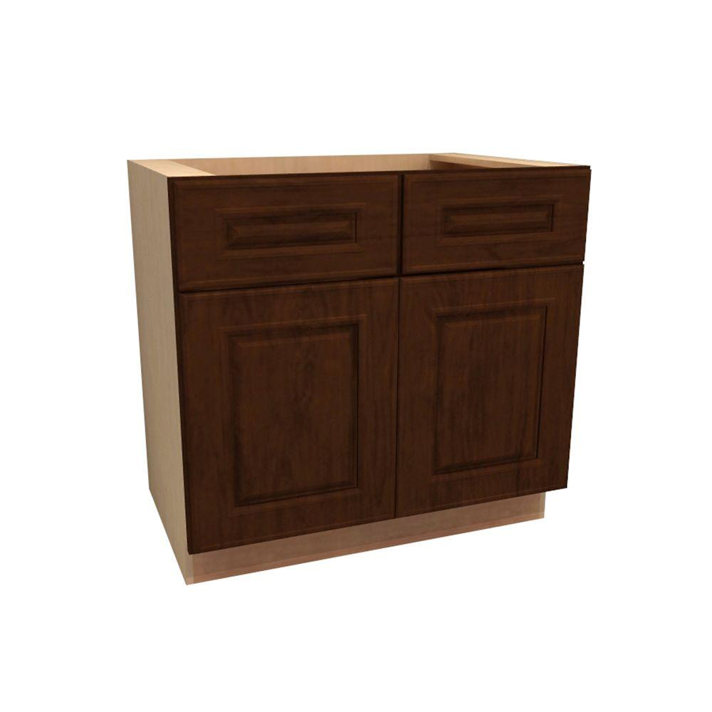 Home Decorators Collection 36x34.5x21 in. Roxbury Assembled Vanity Sink Base Cabinet in Manganite Glaze