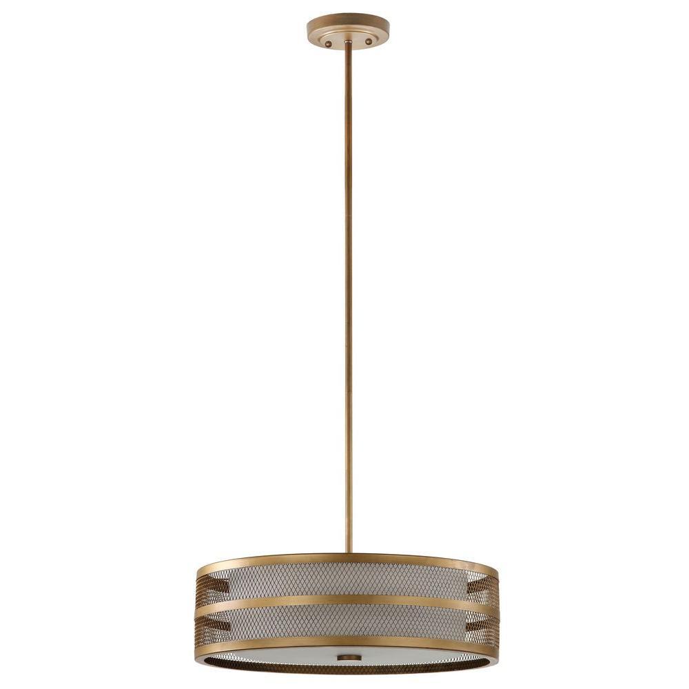 Greta Veil 4-Light Antique Gold Pendant