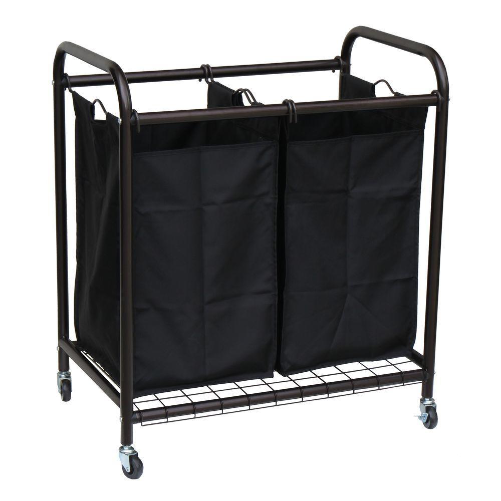 Oceanstar 2-Bag Bronze Rolling Laundry Sorter-DLS1392 - The Home Depot