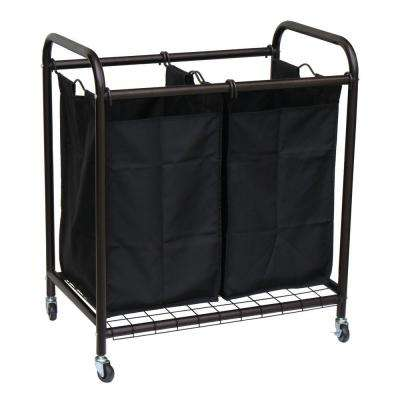 2-Bag Bronze Rolling Laundry Sorter