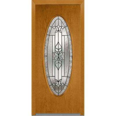 36 in. x 80 in. Cadence Right-Hand Inswing Oval Lite Decorative Stained Fiberglass Oak Prehung Front Door