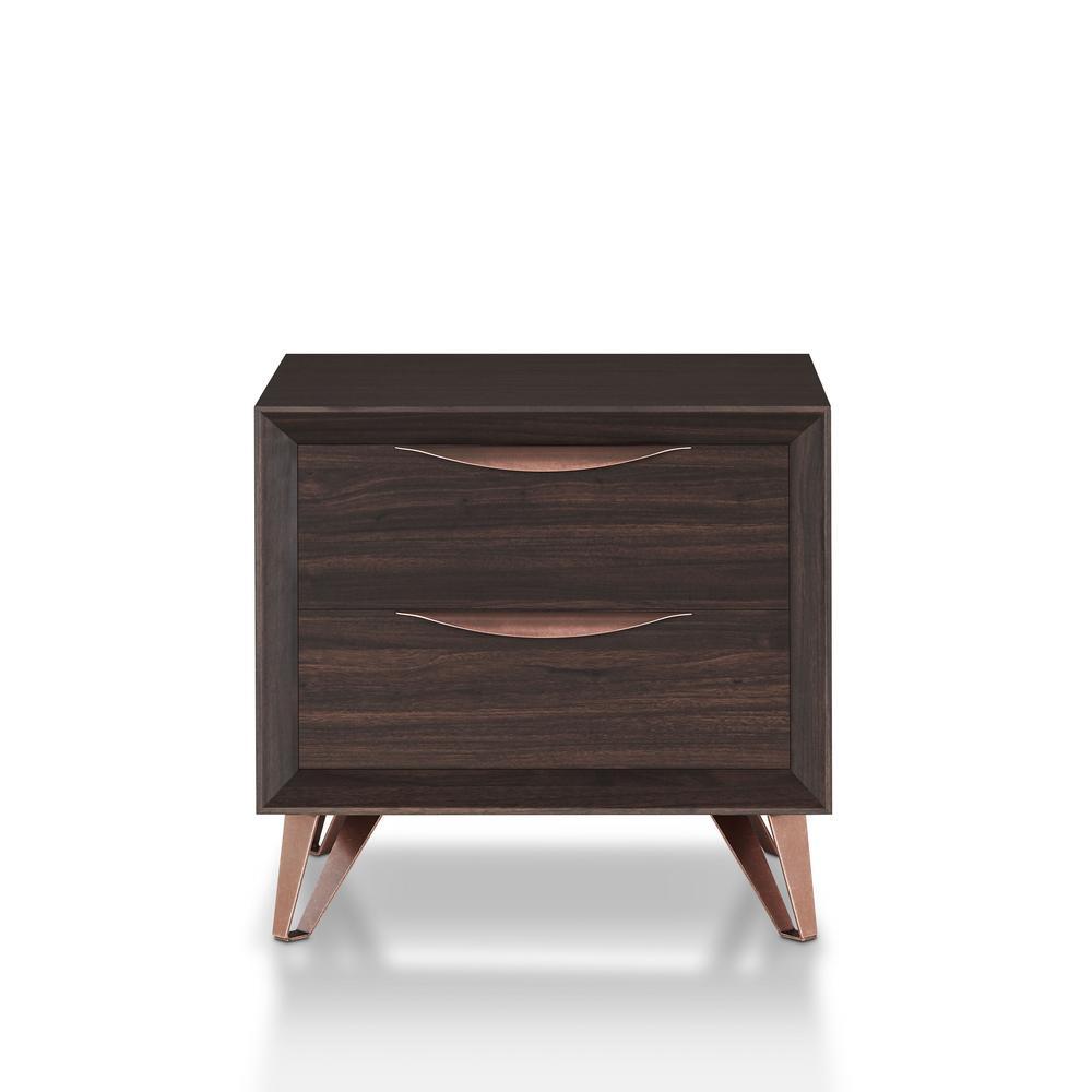 Furniture of America Isabella 2-Drawer Wenge Nightstand