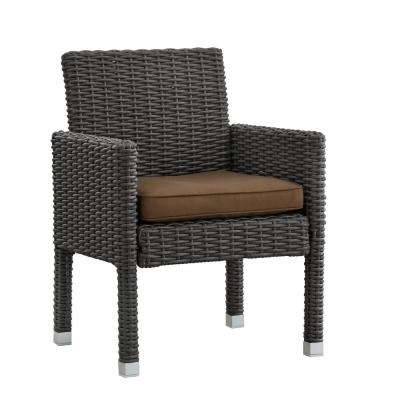Camari Charcoal Arm Wicker Outdoor Dining Chair with Brown Cushion (Set of 2)
