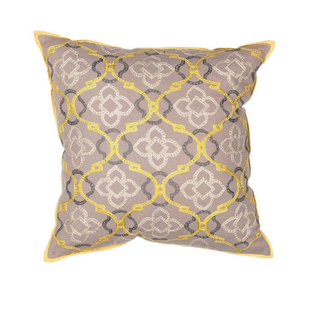 Kas Rugs Clover Motif Yellow Grey Decorative Pillow Pill19718sq The Home Depot